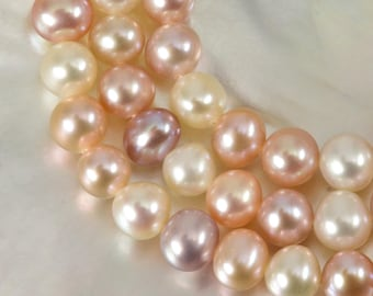 """15.94"""" FRESHWATER PEARLS Strand Lustrous Multi-Color Potato Nugget China 20.91 g"""