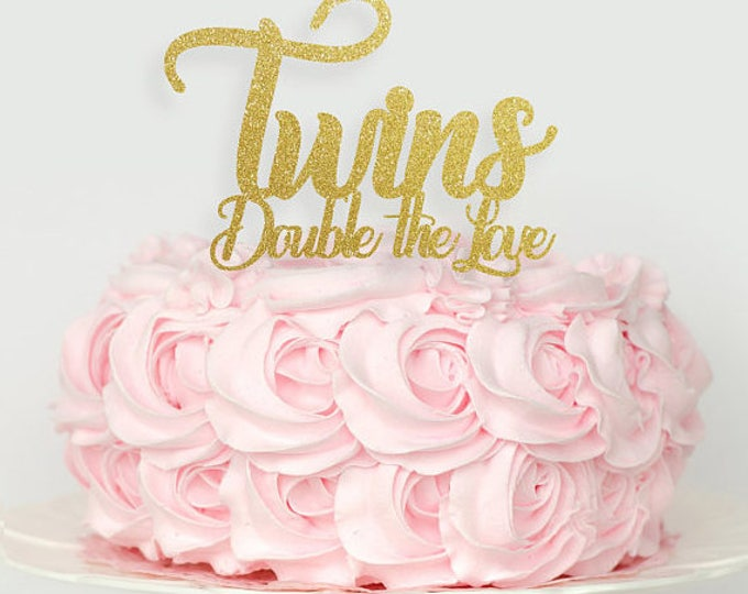 Twins Cake topper, Twins baby shower cake topper, oh babies cake topper, baby shower decorations, oh baby cake topper, Twins Double the Love