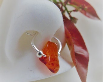 Cartilage jewelry*carnelian agate stone cuff*nonpiercing daith* septal ring* nose ring*silver with carnelian jewelry*orange stone
