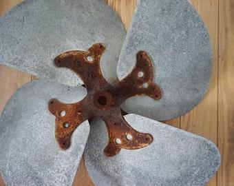 Antique Vintage Metal Fan Blade Like a Rusty Flower