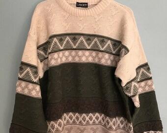 Vintage Oversized Aztec Wool Sweater