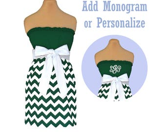 Green + White Chevron Dress