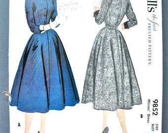 Uncut Vintage McCall's 9852  1950s Dress Printed Pattern  Fitted Bodice Full Skirt 50s Sewing Bust 30 inches