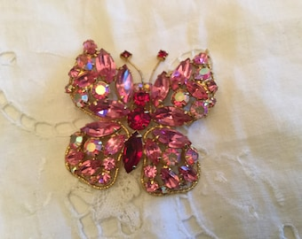 REGENCY BUTTERFLY Rhinestone BROOCH Pink A B Stones Prong Set Marquis Round Couture High End Vintage Jewelry Regency Stamp Gift Idea Scarf