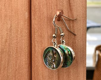 Round Paua Earrings in Sterling Silver