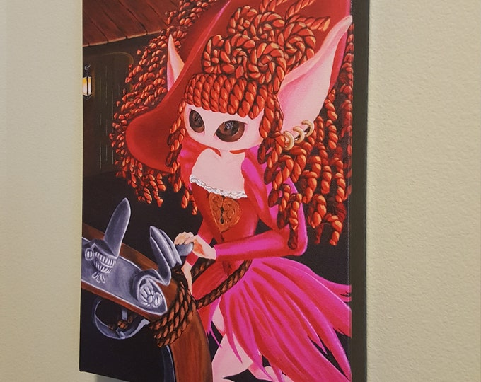 """She said, I'm not for sale - 12x16"""" Repro on Canvas - Inspired by the Red Head Pirates of the Caribbean - MuseArt"""