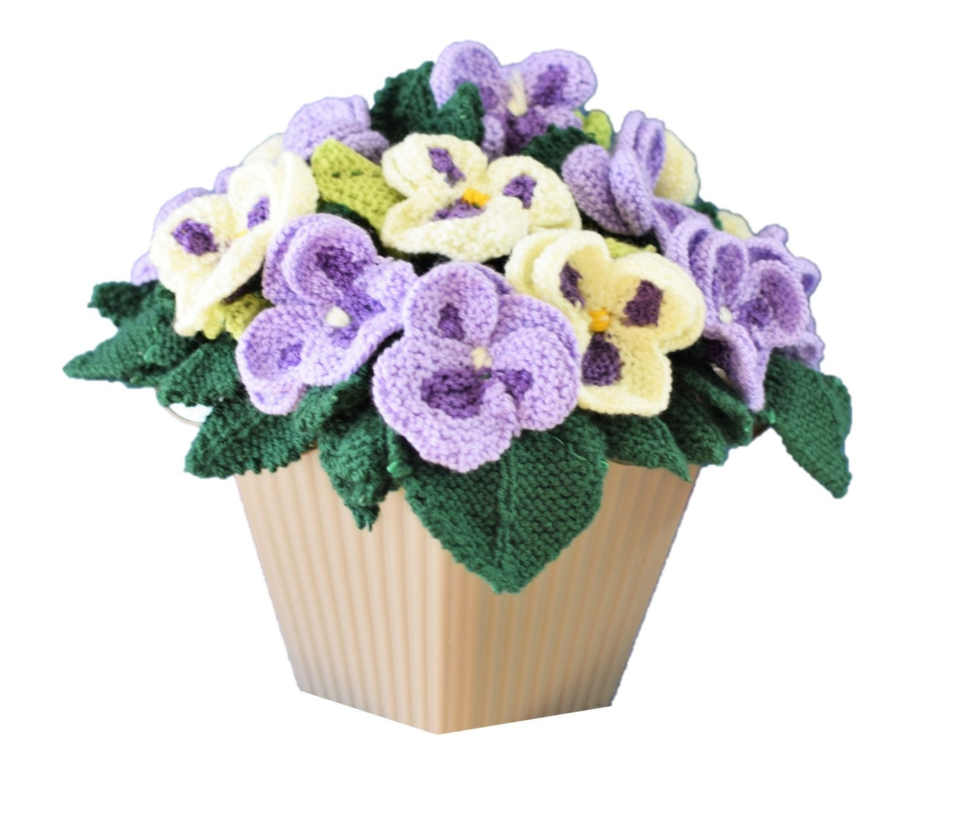 Pot of knitted pansies, knitting pattern for pansies, knitted ...