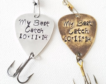 Fish Lure Guitar Pick Hand stamped My Best Cath Fish hook Personalized with date Gift for Him Anniversary gift