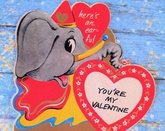 ViNtAgE Valentine's Day Card ADORABLE Elephant**