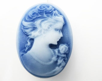 Blue and White Cameo Bobby Pin