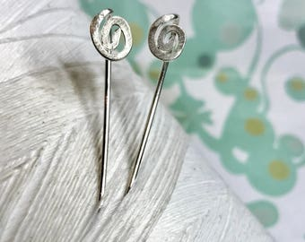 Sterling Silver - Spiral Threader earrings / hammered earrings / circle silver earrings / reverse  / front back earrings / 925 sterling