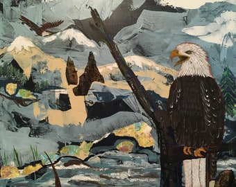 Bald Eagles 20 x 24 Mixed Media on Canvas
