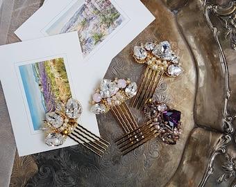 Swarovski elements Bridal hair comb, Gold Bridal hair comb, Gold Bridal hair piece, Wedding hair piece, Wedding hair comb
