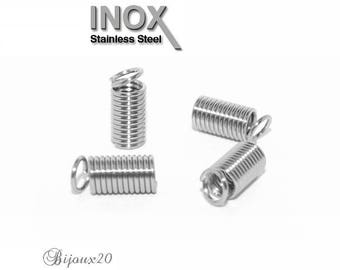 20 caps spring stainless clip cord crimp stainless set M01214 11x5mm