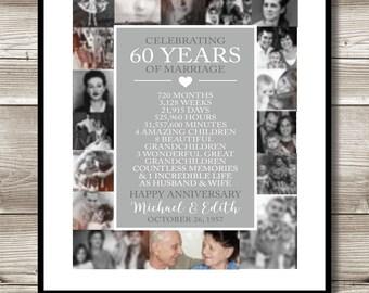 60th Anniversary Photo Collage, Digital Print, gift 60th Anniversary present, Personalized, milestone, keepsake gift, 60 Years of Marriage