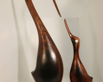 Large Danish Modern Wooden Hand-Carved Bird Figurines with Wooden Base