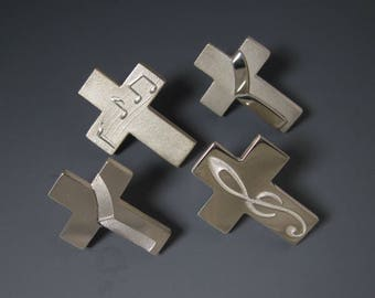 Silver Deacon Stole Cross Lapel Pin, Intaglio-engraved Deacon Stole Tac, Diaconate Gifts, from our Spiritus Christian Jewelry Collection