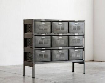 3 x 3 Reclaimed Locker Basket Unit Refinished In Monochrome Natural Steel
