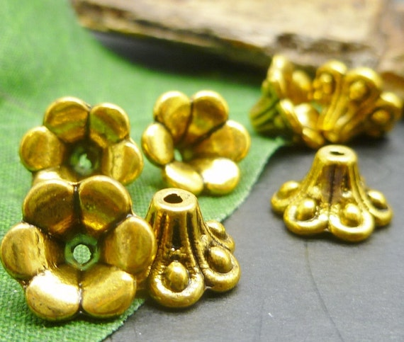 Gold Plated Silver Antique Beads: 20 Antique Gold Plate Flower Bead Caps Ornate Gold Findings