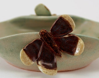 Wheel Thrown Stoneware Altered Pottery Aqua Green Bowl Butterflies Second Sale
