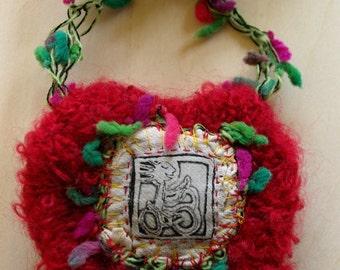 Necklace print etching on textile - unique Piece