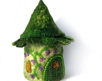 Green Fairy House Tooth Box Gift Miniature Fairy Garden House Home Felted Wool Fairy Garden Cottage Fairies and Elves fairy tale gift
