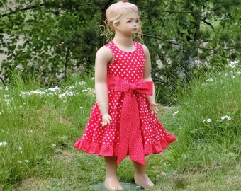 Girls red polka dot dress. Girls Christmas dress. Toddler girls red dress. Girls cotton dress, girls ruffle dress. Toddler casual dress