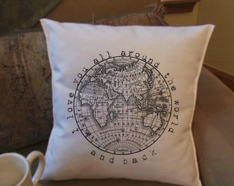 Valentine's Day Gift  I love you all around the world and back  throw pillow cover, decorative throw pillow cover