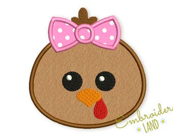 Cute Turkey with Bow Thanksgiving Applique Machine Embroidery Design in 4 sizes:  3, 4x4, 5x7, 6x10 hoop  TG024