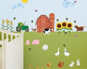 Farm Wall Sticker Set – 38 Peel & Stick Farm Theme Decals for Baby Nursery and Kid Room - MINI SET (#1248-17)