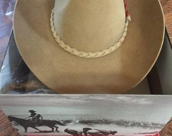 Vintage Never Worn John Stetson Western Cowboy Hat 4X Beaver XXXX 7 1/4