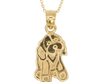 10k Yellow Gold Dog Necklace with Gold Chain, Animal Jewelry Pet Gift for Men or Women, I Love My Dog Pendant Gold