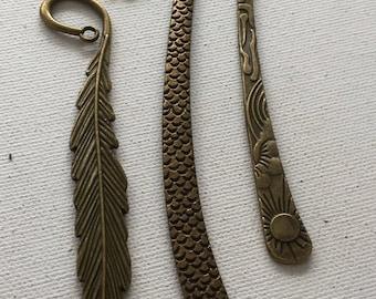 Vintage brass bookmark findings