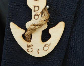 Nautical Groom or Groomsmen Anchor Boutonniere