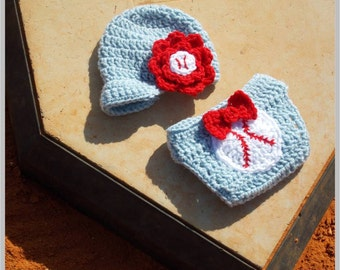 Baby Baseball Hat and Diaper Cover Pattern - Girl ... Instant Download