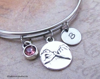 Pinky Promise Bangle Personalized Hand Stamped Initial Birthstone Antique Silver Pinky Swear Stainless Steel Expandable Bangle Bracelet