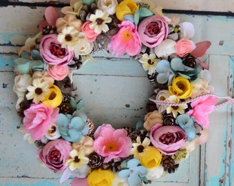 Beautiful Wreaths / Spring Wreaths / Front Door Wreaths/ Everyday Wreath/Door Decor/Flower Wreath