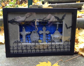 3D cemetery stone tombstones, bats, Gothic frame