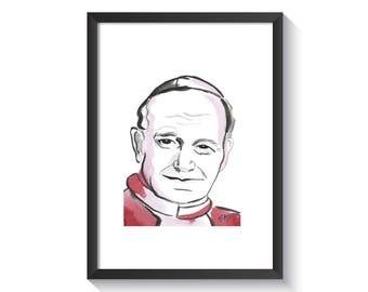 Pope Saint John Paul II Original Watercolor Print