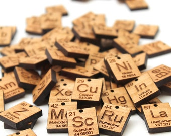 More Element Charms (A - P) . Chemical Symbol - Wood Jewelry supplies . Sustainable Geekery Science - Periodic Table Elements . Set of 4