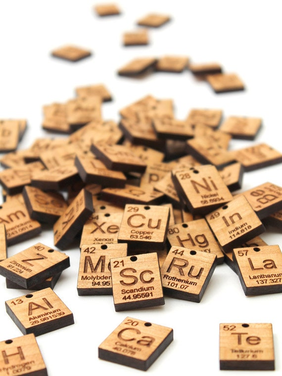 More Element Charms A P Chemical Symbol Wood Jewelry