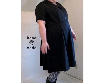 Perennial Dress -- black rayon gabardine -- plus size, size 28, 4X -- fit & flare, button front, collar, short sleeves -- 58B-52W-68H