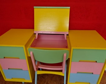 Child's desk & chair /Reupholstered/Childs Bedroom/Childs Playroom/Vintage/1970s  Reduced from 275.00 to 250.00