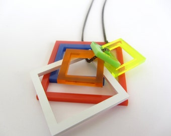 Rubik's cube 80's inspired laser cut square necklace