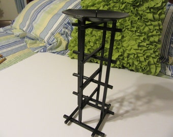 Candle Holder Lattice Pillar Vintage Painted Black Wrought Iron Unique Candle Holder Home Decor Gothic Style Unique Design Great Gift Idea