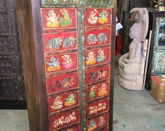 Indian Antique Armoire Hand painted Ganesha Bohemian Cabinet Yoga Ancient Spirituality Eclectic Shabby Chic Doors
