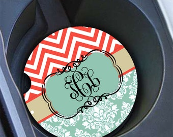 Damask coral car coaster, Monogram car cup holder coaster, Turquoise damask coral , Personalized car decor, Chevron auto accessory (1010)
