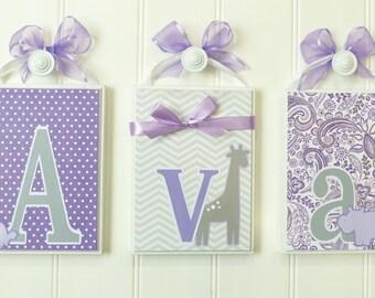 Baby Name Blocks Home Decor Routed Edge Purple Gray Carters Animals Nursery Blocks Decor Lavender Baby Nursery Girl
