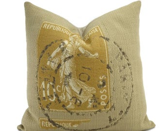 Beige & Camel Woven French Stamp Throw Pillow Cover, 20x20