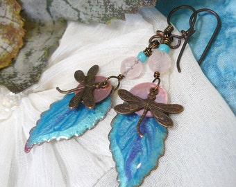 Dragonfly Earrings ~ Vintage Dragonfly Earrings ~Antique Brass Dragonfly Earrings~ Leaf and Dragonfly Earrings